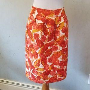 Halogen orange floral pencil skirt (B4)